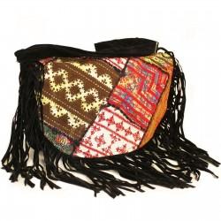 Patchwork Batoh - Čierny so strapcami