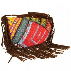 Patchwork kabelka - Hnedá so strapcami